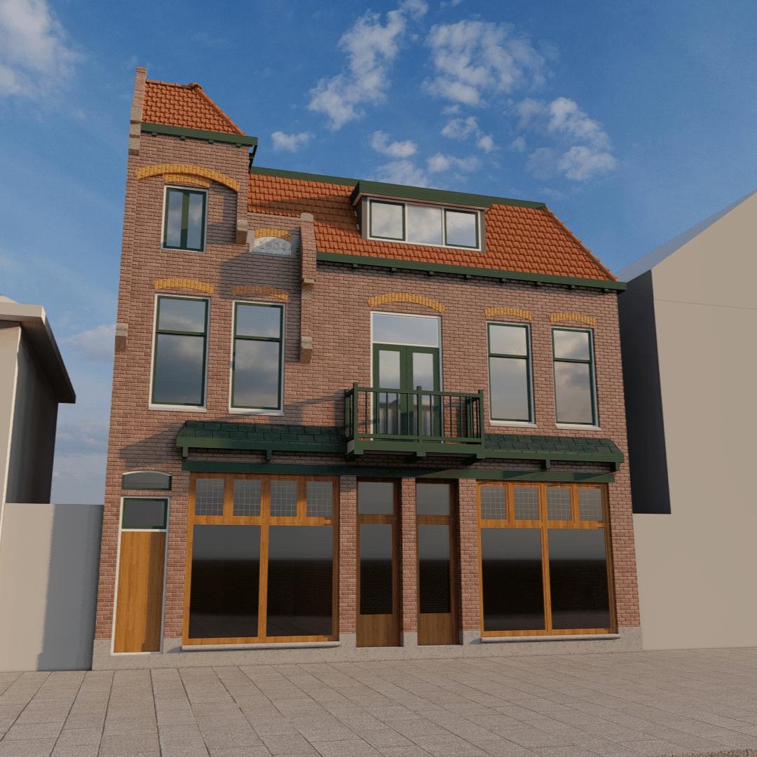 3d uitwerking nieuw dakkapel op woonhuis zaandam