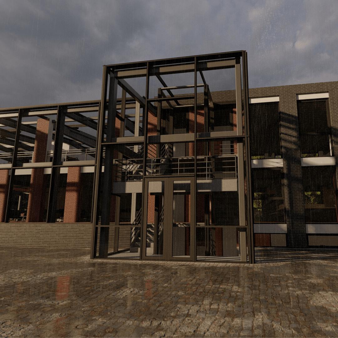 3d uitwerking portaal utiliteitsgebouw