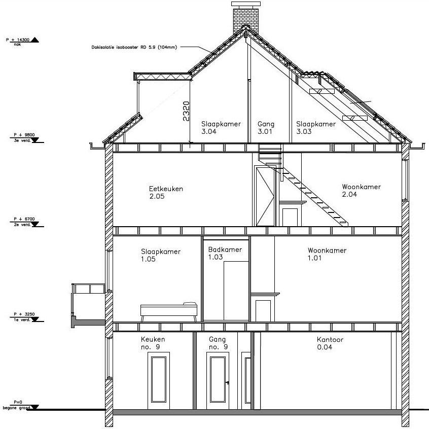doorsnede bouwtekening woning