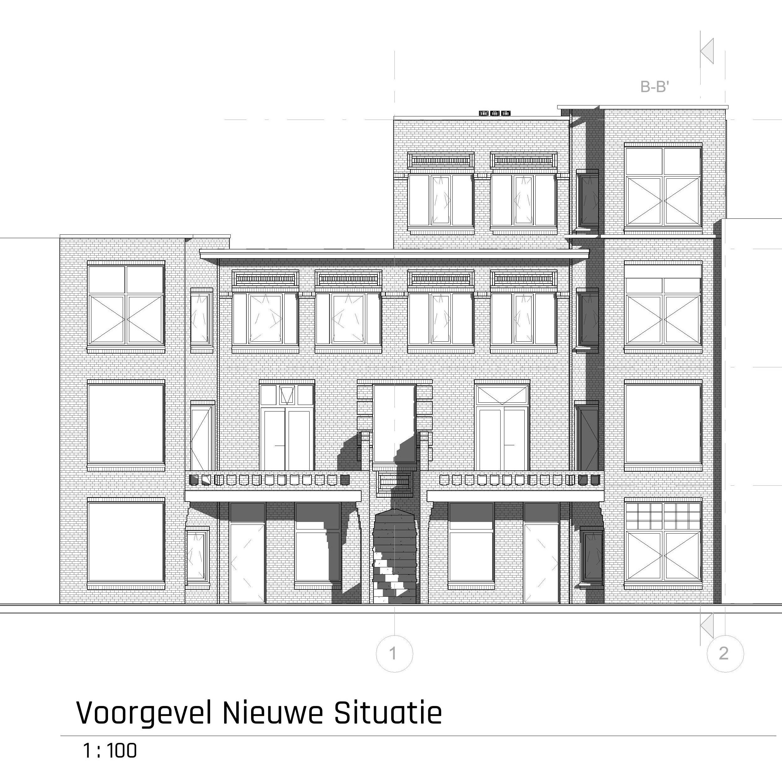 voorgevel appartementen met dakopbouw