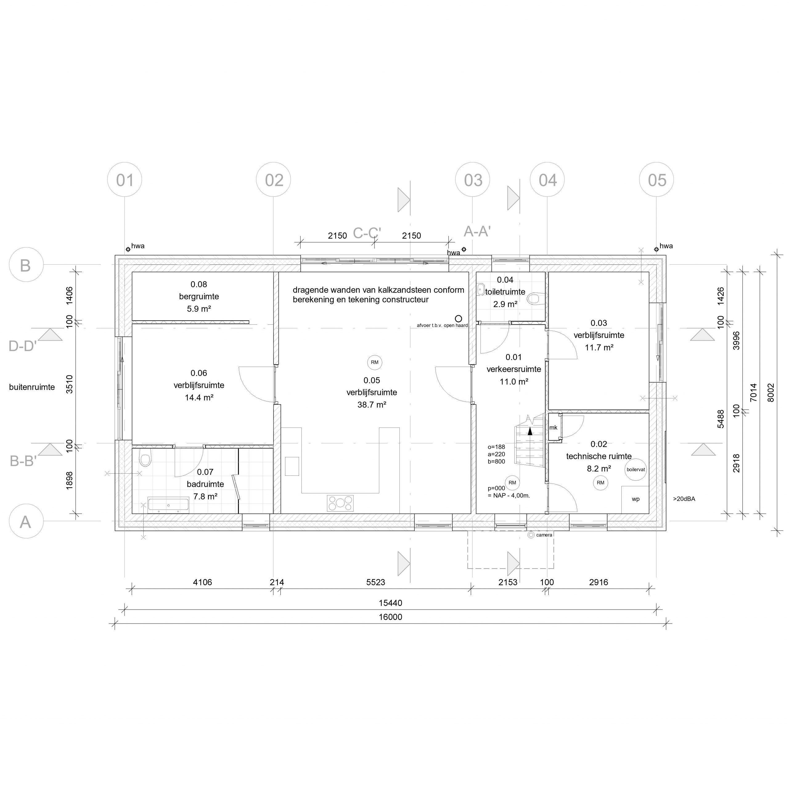 plattegrondtekening woning nieuwbouw
